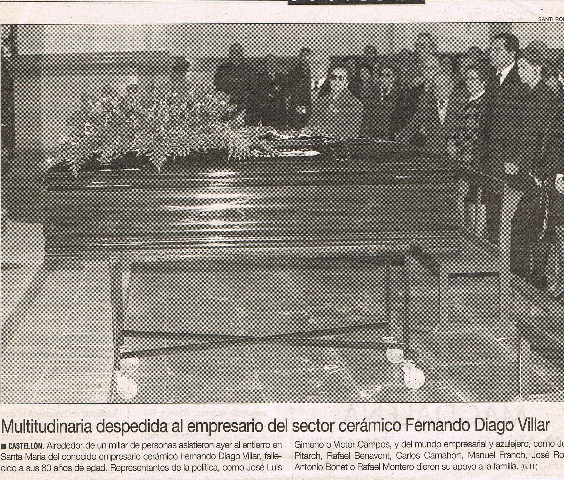 Entierro de Don Fernando Diago Villar 13 de enero de 1998