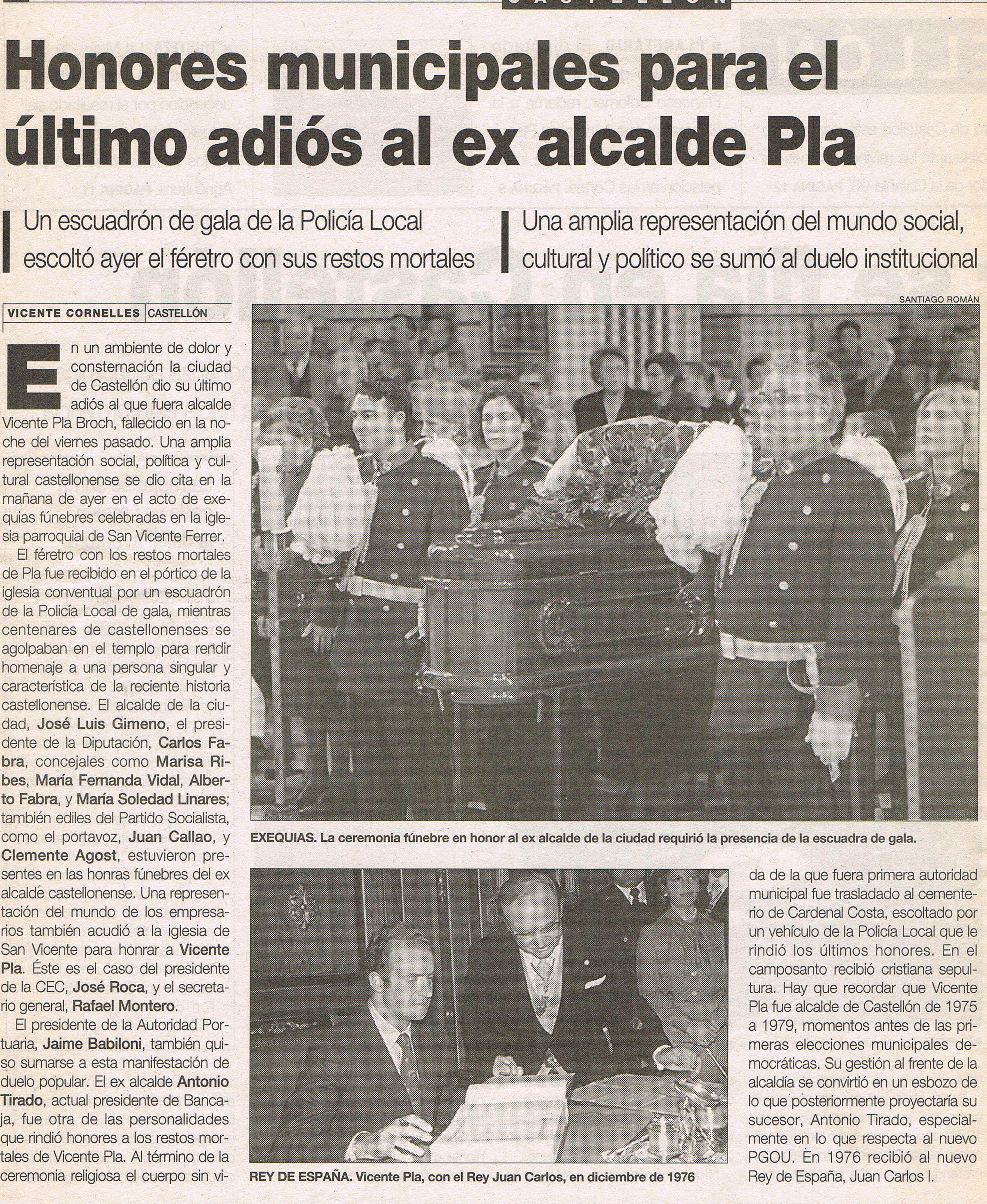 Entierro de Vicente Pla Broch Alcalde del Excelentísimo Ayuntamiento de Castellón (1975 - 1979).