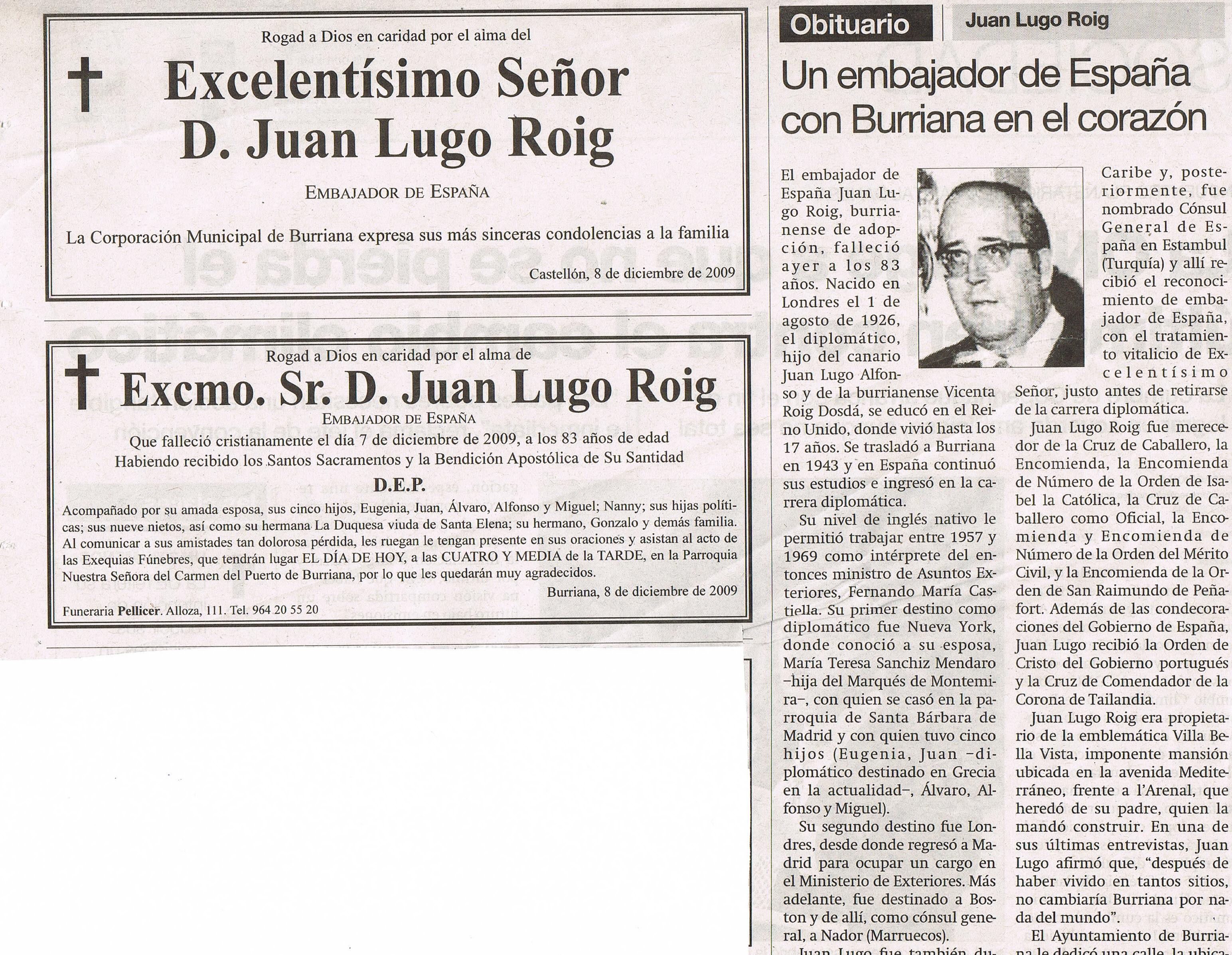 Entierro del Excelentísimo Señor Don Juan Lugo Roig, Embajador de España en Jamaica y el resto de las colonias Británicas en el Caribe.