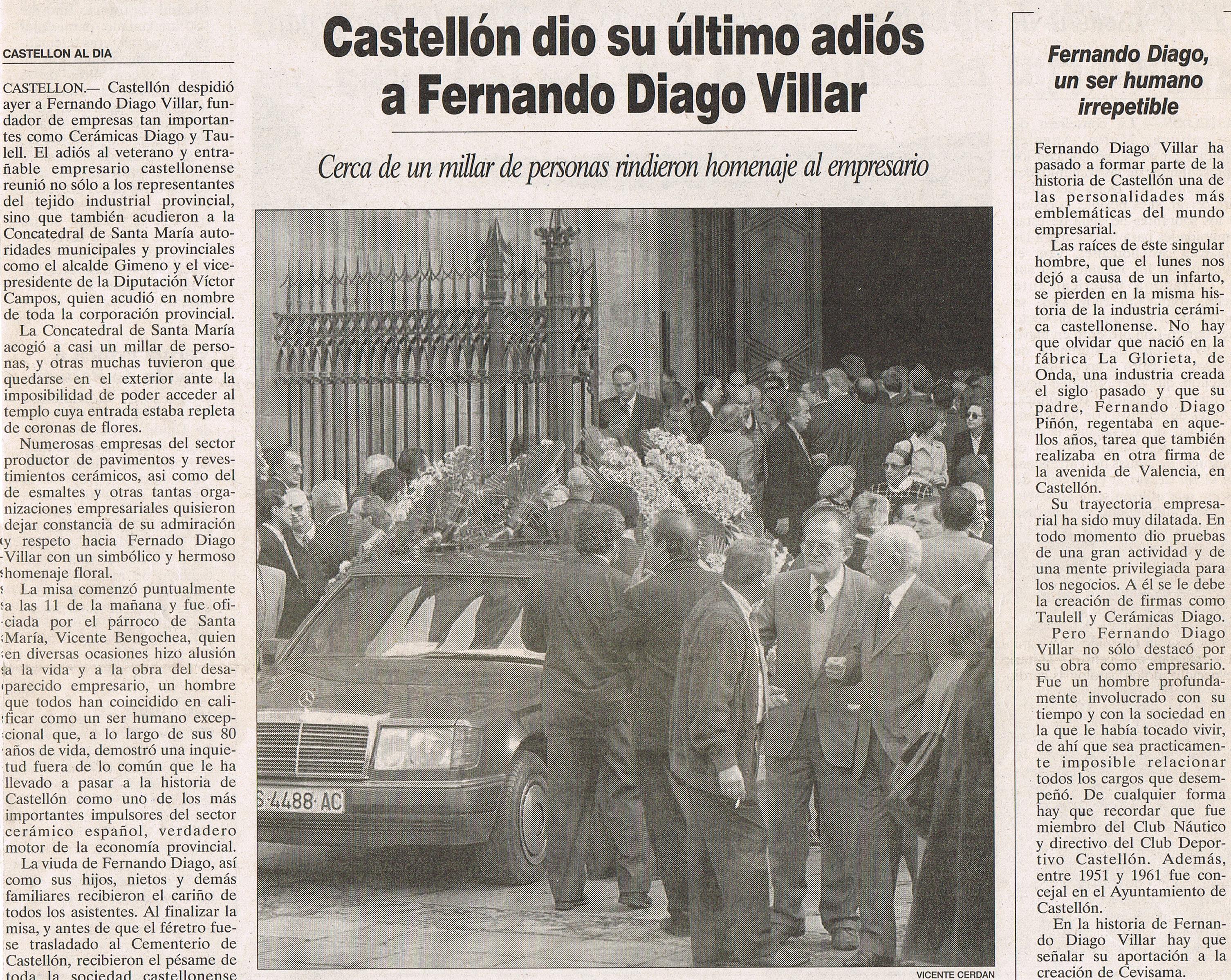 Entierro de Don Fernando Diago Villar 13 de enero de 1998.